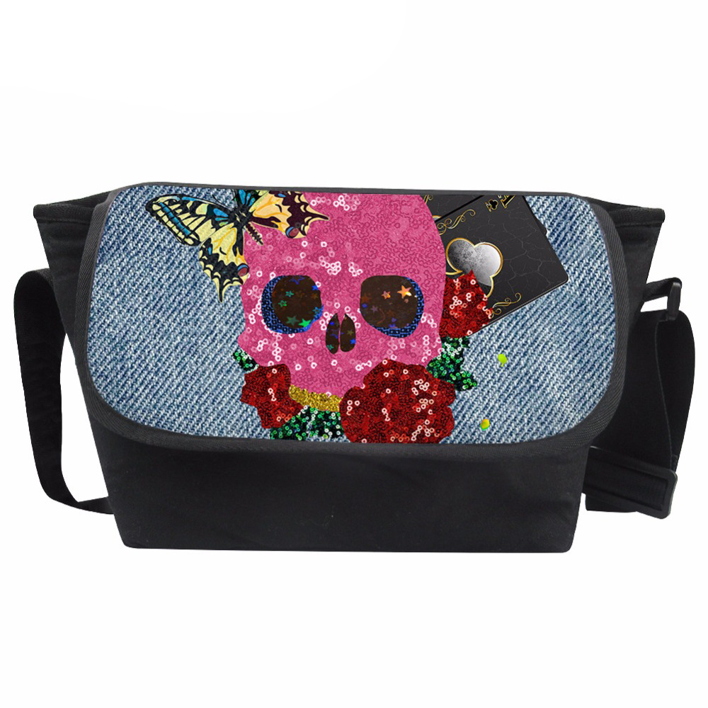 Customized Messenger Bag Women Denim Skull Print Shoulder Bag Teenagers Batterfly Pattern Bags Females Crossbody Bolsa
