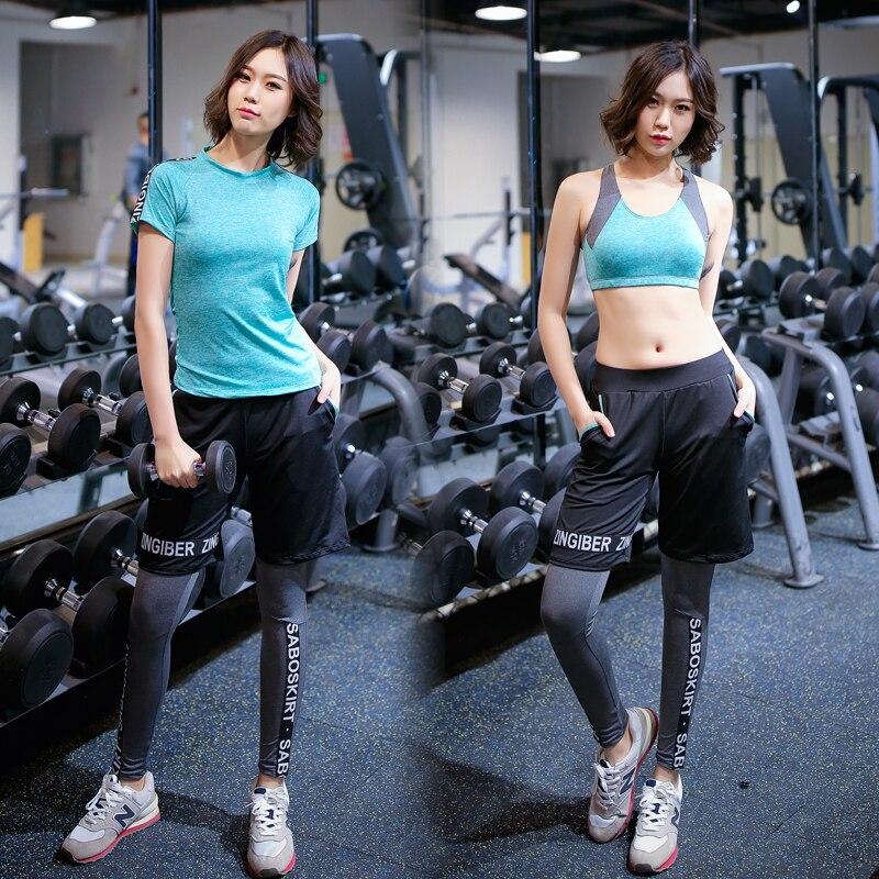 Di grandi Dimensioni di Yoga Set 4 pezzi Tute Vestito di Sport Femminile di Fitness Traspirante Esercizio All'aperto Lettera Palestra Abbigliamento Sportivo Delle Donne Pantaloni - 5