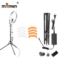 Mamen 18inch 55W 5500K 240pc LED SMD Camera Photo Studio Phone Video LED Mirror Ring Light Photography Dimmable Ring Lamp 180CM