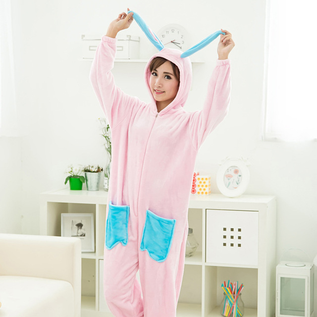 Adult Lady Girl Cartoon Long ears Rabbit Onesies Sleepwear Winter Flannel Pajamas Jumpsuit Christmas Halloween Costumes Woman