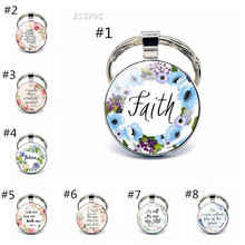 Bible Verse Psalm Keychain Keyring Inspirational Faith Quotes Key Chain Key Rings Christian Jewelry Party Gift god is my refuge and strength a very present help in trouble key chain glass cabochon god jewelry bible verse key rings