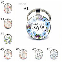 Bible Verse Psalm Keychain Keyring Inspirational Faith Quotes Key Chain Key Rings Christian Jewelry Party Gift(China)