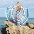 New Indian Mandala Round Roundie Beach Throw Tapestry with Tassels Hippy Boho Gypsy Polyester Tablecloth Beach Towel Mat 781