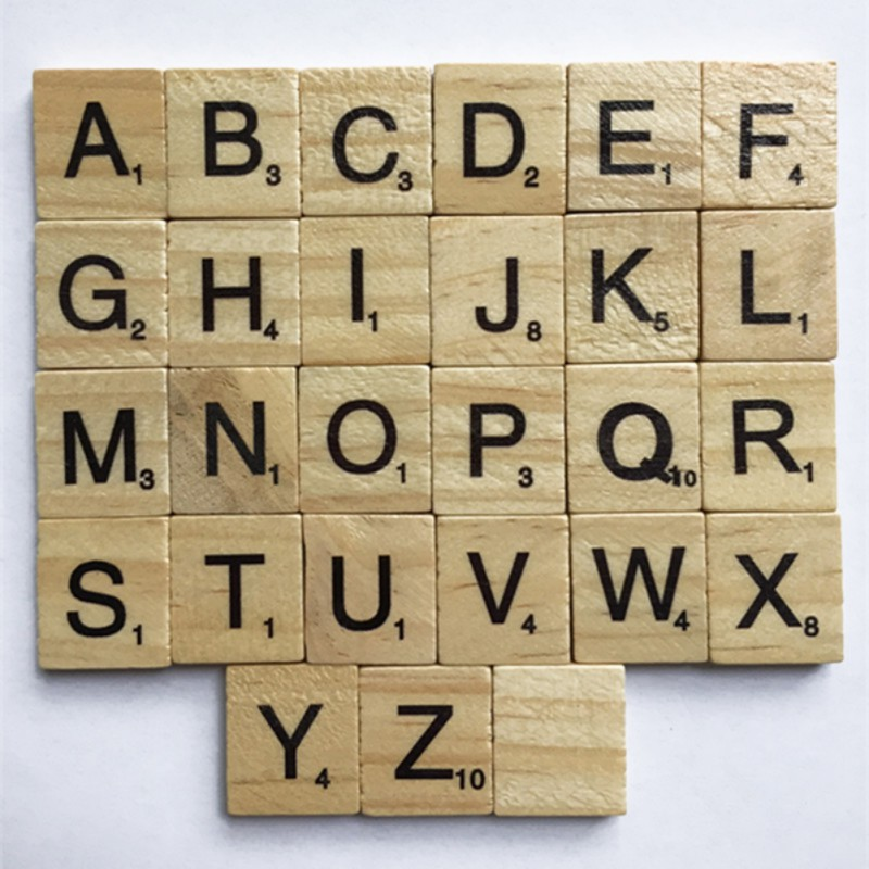 100 PCS/Set Wooden Alphabet Scrabble Tiles Black Letters Numbers Crafts Figurines Festiv ...