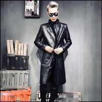 Leather overcoat men's thicker hair stylist club long Korean version of slim windbreaker PU leather super long coat.