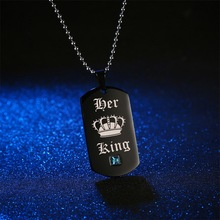 Black Necklaces & Pendants Her King and His Queen Black Titanium Couple Necklace Stainless Steel Pendant Gifts