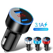 3.1A Dual USB Car Charger With LED Display Universal Mobile