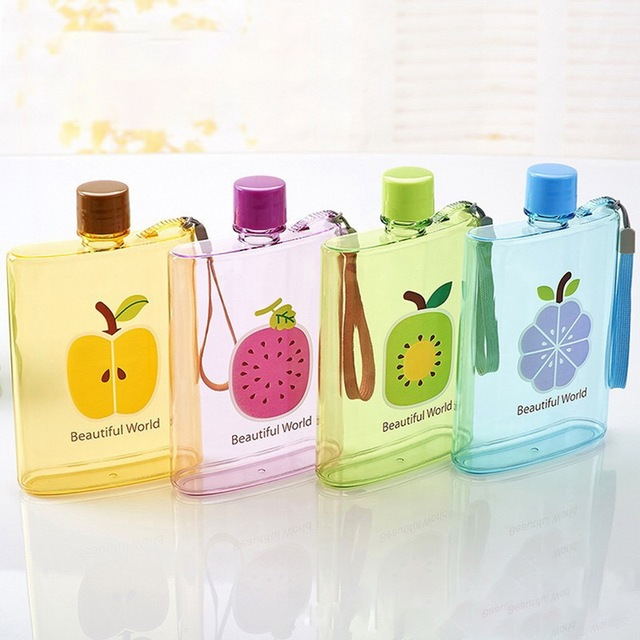 Flat Water Bottle >> Hoomall 350ml Kitchen Cute Flat Water Bottle Printed Fruits
