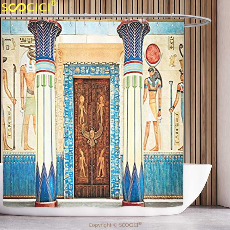 Polyester Shower Curtain Egyptian Decor Collection Ancient ...