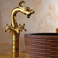 Copper antique dragon style bathroom sink basin faucet, European type basin faucet mixer hot and cold water tap white/gold/black