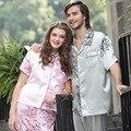 Men's Pajamas Short Sleeve Satin Pajamas Luxury and Noble Men and Women Matching Pajamas Set