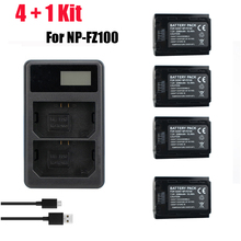 4pcs NP-FZ100 NP FZ100 NPFZ100 camera batteries + LCD Dual Charger for Sony BC-QZ1 Alpha 9 9R 9S Digital