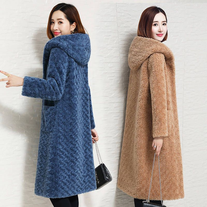 Coats Fur-Jackets Sheep-Shearing Hooded Real-Fur Genuine Fur Women Female Thicken Winter title=