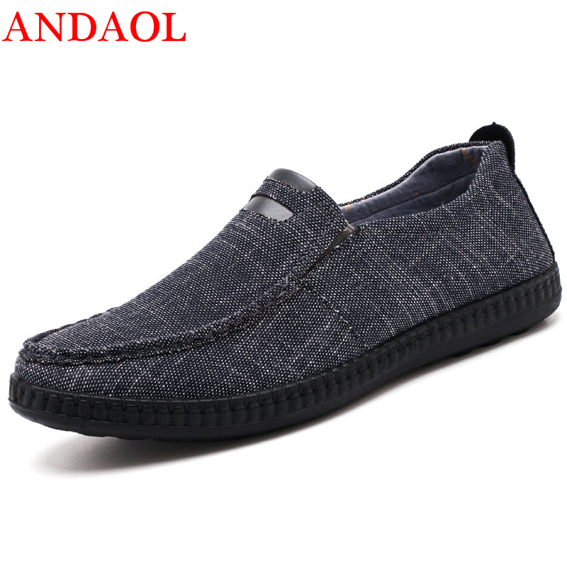ANDAOL Men 39 s Canvas Casual Shoes Top Quality Pliad Sofe Driving Loafers Luxury Hard Wearing Slip On Flasts Business Office Shoes in Men 39 s Casual Shoes from Shoes