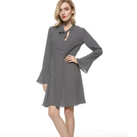 Spring New Style Women S Clothing V Neck Falbala Long Sleeve Dresses Plus Size Female All
