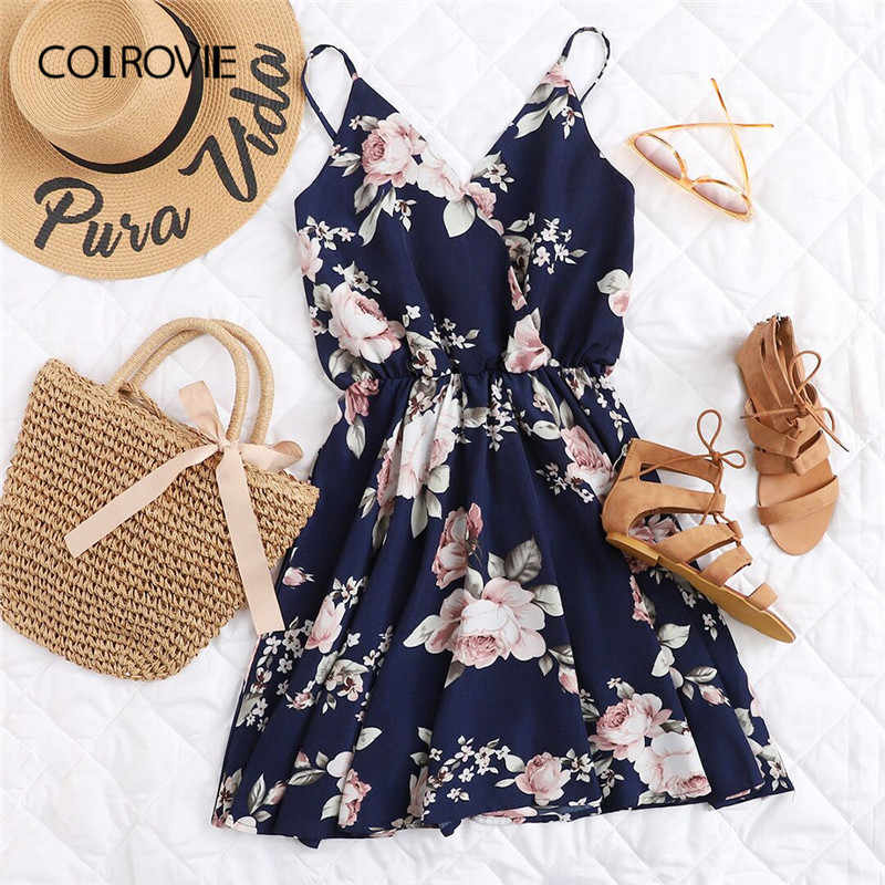 6a82b94cc04a COLROVIE Navy Floral Print Random Surplice Women Dress 2018 Sleeveless  Floral Summer Dress V Neck Vacation