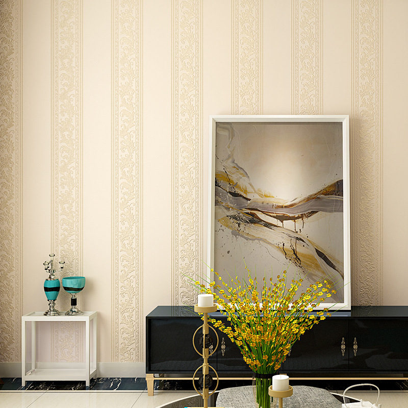beibehang Simple European vertical stripes non-woven wallpaper bedroom living room AB edition wallpaper new coining process beibehang shop for living room bedroom mediterranean wallpaper stripes wallpaper minimalist vertical stripes flocked wallpaper