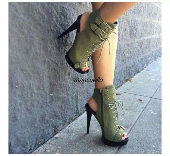 ФОТО Trendy Green Buckles Decorated Platform Sandals Fancy Cross Strap Peep Toe Slingback Spike Heel Dress Sandals Fashion Booties