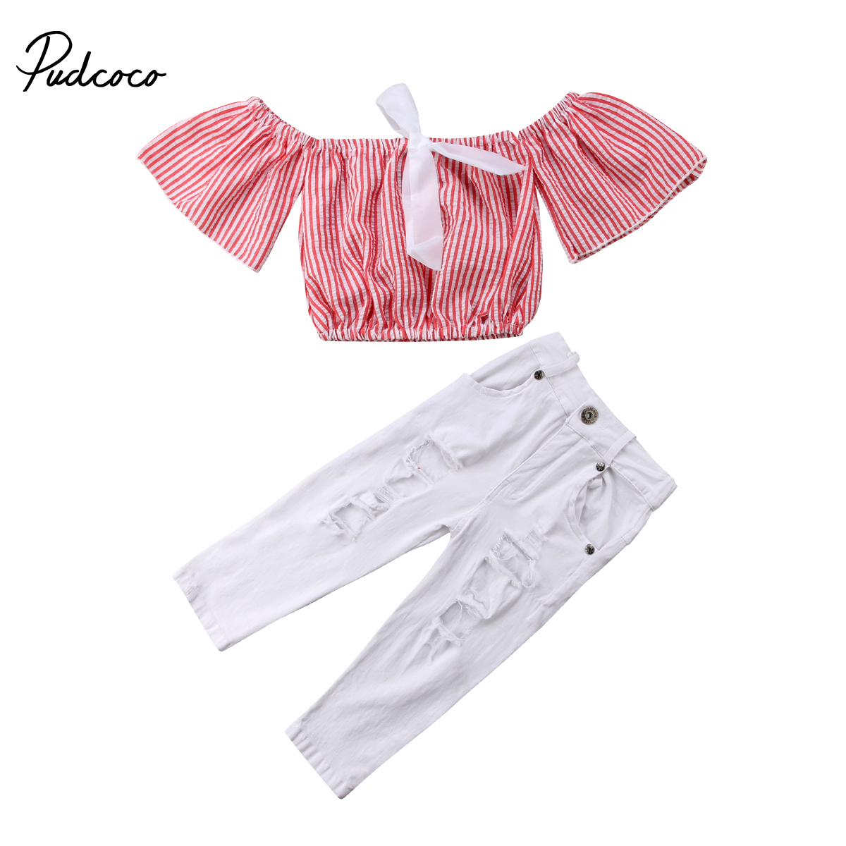Pudcoco Newborn Kid Baby Girls Striped Off Shoulder Tops Lace Holes Pants Outfits Set 1-6 Years Helen115