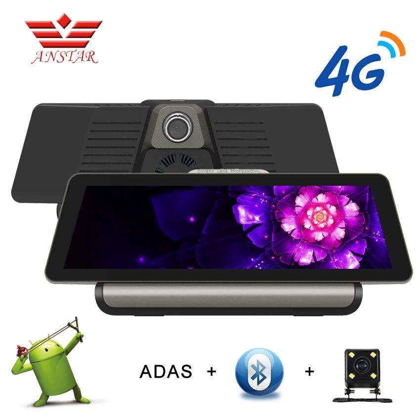 Anstar 10 дюймов 4G Android Видеорегистраторы для автомобилей 1080 P видео Камера gps навигации ADAS Full HD видеокамера Bluetooth, Wi Fi два объектива Dashcam