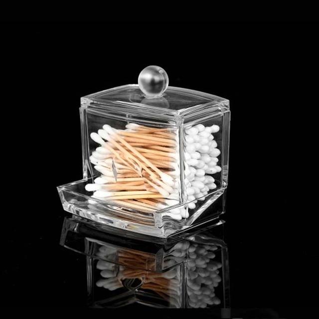 New Creative Makeup Organizer Clear Acrylic Cosmetic Cotton Swab Q Tip  Storage Holder Box Transparent