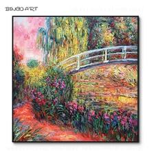 Artist Hand-painted Water Lilies and Bridge Oil Painting Claude Monet Vintage Home Decoration Japan
