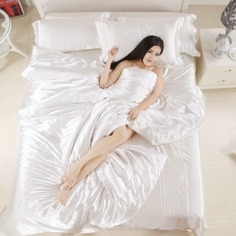 Helengili Silk Bedding Set Satin Solid Color Duvet Cover