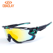 Obaolay Polarized Sports Men Sunglasses Road Cycling Glasses Mountain Bike Bicycle Riding Protection Goggles Eyewear 5 Lens CG03