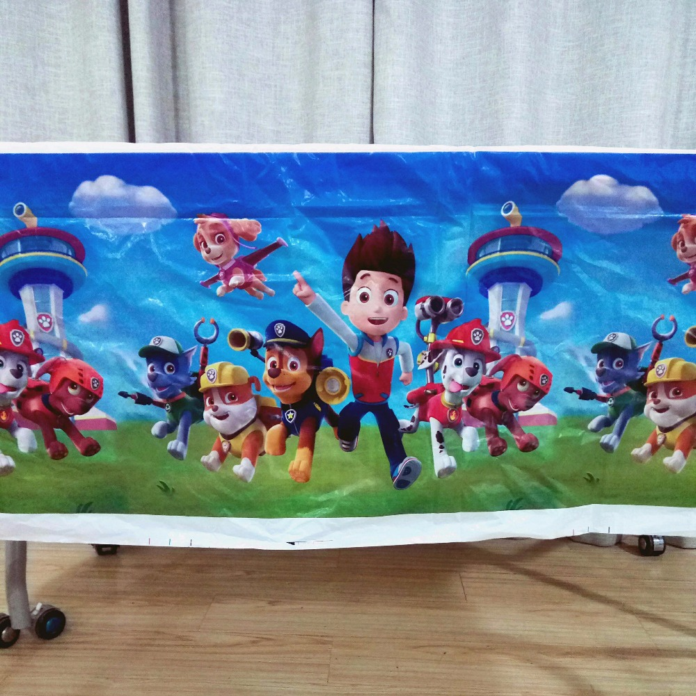 108cm*180cm Puppy Patrol Cartoon Theme Party Table Cloth Birthday Party Decoration Disposal Kids Favor Party Supplies Set