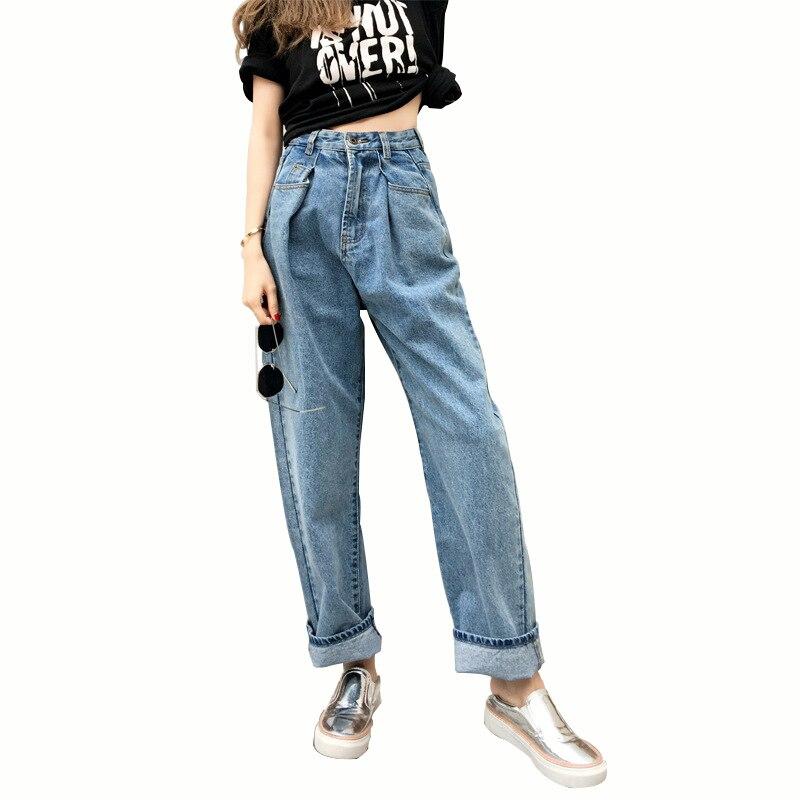 MOBTRS nouveau Jeans femme lâche BF Style Jeans pour femmes avec taille haute littérature et Art pantalons à jambes larges Jean femme