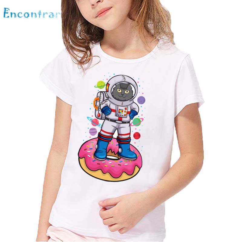 Meninas Gato Engraçado/Unicórnio Com Rosquinhas Impressão T camisa Dos Miúdos Verão Branca de Manga Curta Tops T-shirt Ocasional Dos Desenhos Animados Do Bebê, HKP5581