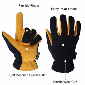 Image 4 - Winter Gloves, OZERO Cold Proof Thermal Glove   Deerskin Suede Leather Palm and Polar Fleece Back with Heatlok Insulated