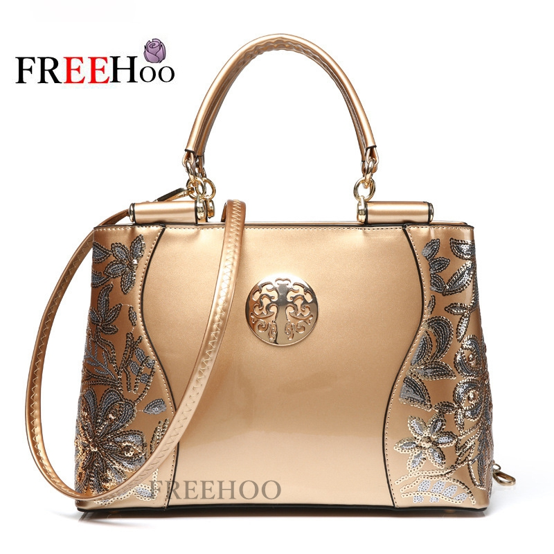 2017 New Europe  fashion womens bags sequined chains Luxury patent leather famous brands design handbag women messenger bags
