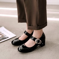 Big Size 11 12 13 ladies high heels women shoes woman pumps Lacquer Square Head Water Drill with One Word Buckle and Thick heel