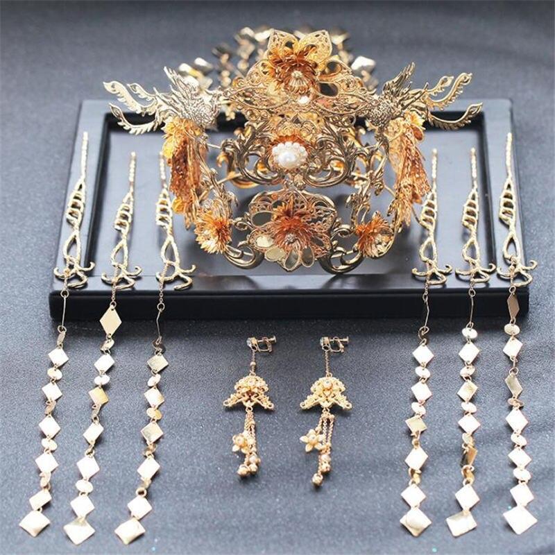 Diadème de mariée chinoise diadème de reine phoenix avec longues couronnes de gland femmes bijoux de cheveux boucle d'oreille de mariage épingle à cheveux Set accessoires de tête