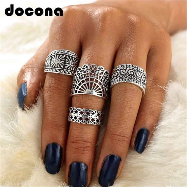 docona 4 Pcs/set Punk Gold Silver Hollow Out Knuckle Rings Set Carved Flower Gyp