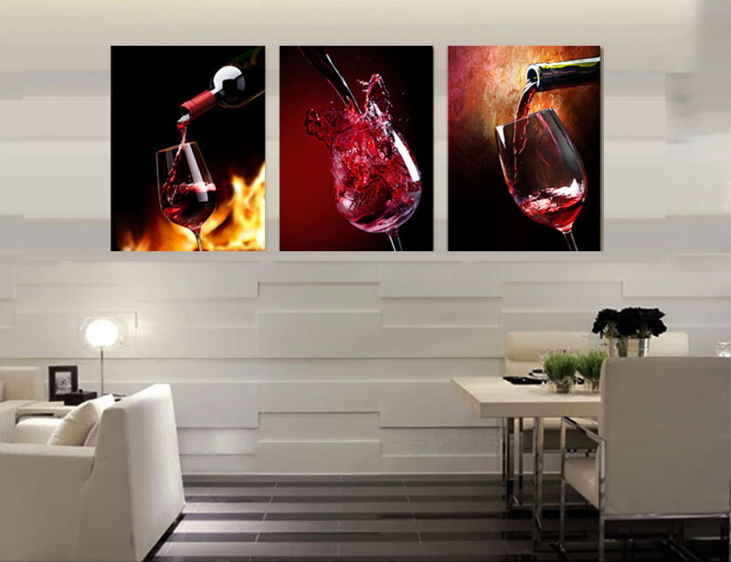 3 Piece Canvas Art Kitchen Canvas Paintings Red Wine Cup Bottle Wall Art  Dinning Room Pictures Vineyard Vines Modern Painting In Painting U0026  Calligraphy From ...