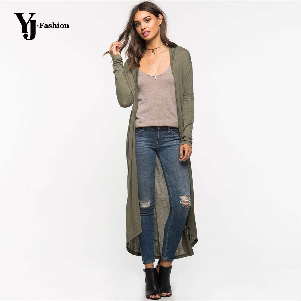 YJ Fashion Black Green Autumn Cardigans Women Full-Sleeved Long Thin Coats 2019 Irregular Hooded Cotton Sweaters Pull Femme Tops