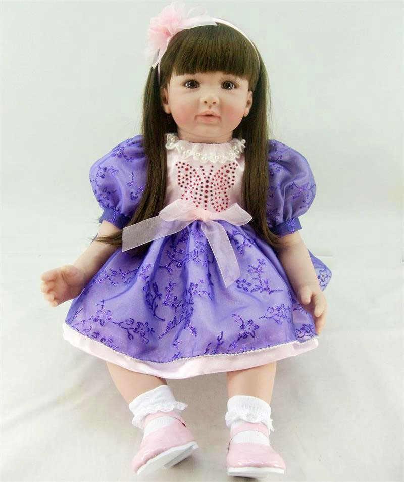 """Силиконовая Реалистичная Детская кукла игрушка 60 см виниловые принцесса кукла """"малыш"""" с красивой одежды для детей подарок на день рождения для девочек Brinquedos"""