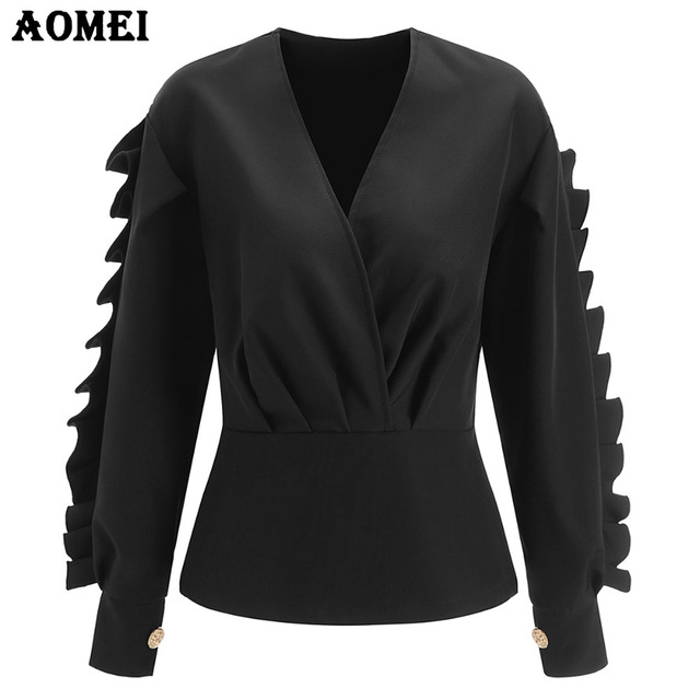 646d318cda81b Long Sleeve Black Peplum Tops Blouse for Women Fancy Ruffles Frills Sexy  Plus Size V Neck Spring Fashion Lady Wear to Work Shirt