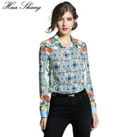 Hua Shang Fashion Woman Blouses 2017 Autumn Winter Women Long Sleeve Fruit Floral Printing Chiffon Blouse