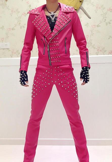 Fashion Men PU Leather Rivets Jacket Outerwear Pants Dj Costume Neon Rose Long-Sleeve Clothing Male Singer Show Wear