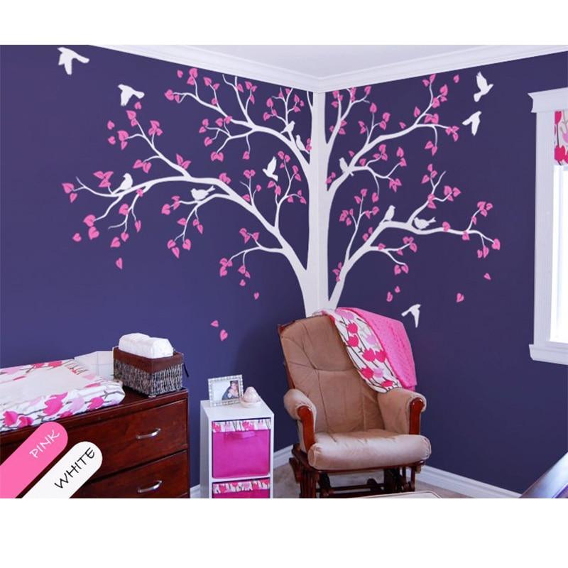 Bébé chambre Art de la maison décor mignon énorme arbre avec des feuilles qui tombent et des oiseaux mur autocollant vinyle pépinière chambre décorative murale RS2381