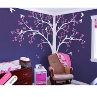 Baby Bedroom Home Art Decor Cute Huge Tree With Falling Leaves And Birds Wall Sticker Vinyl Nursery Room Decorative Mural RS2381