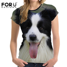 FORUDESIGNS T-shirt Women 3D Border Collie Printing Summer Tops Tees Funny Dog T Shirts Feminism Female Casual Tee Shirt Couple
