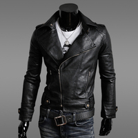 2019 New Spring and Autumn Men's Motorcycle Clothing Slim Men's Leather Jacket Jacket Men's Leather Solid Color Casual Fashion