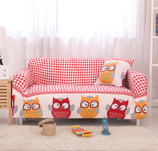 Sofa Covers Elastic Spandex Owl Lattice Printed Sofa Covers Polyester  Protector Pattern Red Sofa Covers V20