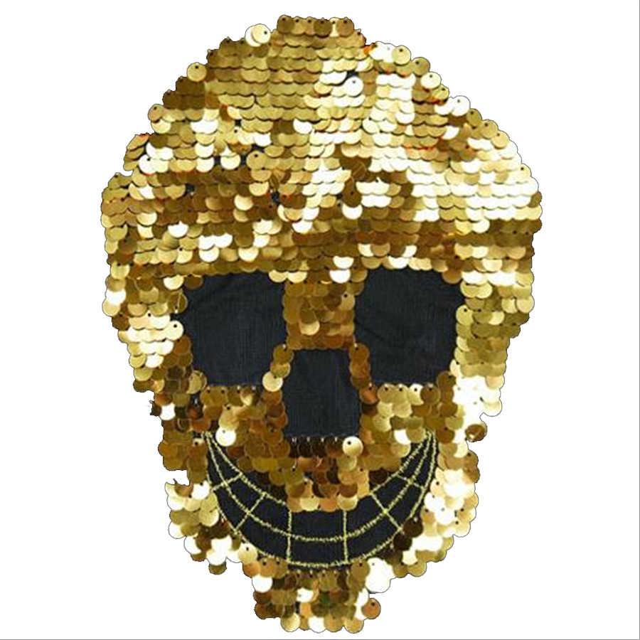 Abbigliamento Donna Shirt Top Fai Da Te Grande Patch di testa Del Cranio Oro Paillettes trattare con esso T-Shirt delle ragazze Toppe e Stemmi per i vestiti Punk adesivi
