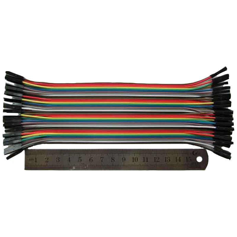 40 sztuk w rzędzie 20cm 1 p-1 p kobieta do kobiet kabel mostkujący Dupont kabel do Arduino dwa terminale transpozon rainbow kabel