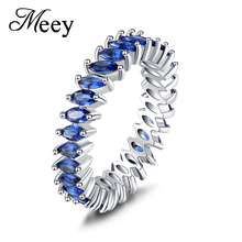 Hot-selling new standard 925 Sterling Silver Lady ring high quality blue jewel fashion classic engagement anniversary gift party